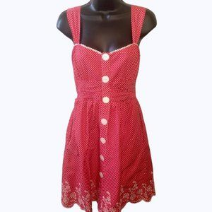 Ruby Rox Retro Rockabilly Polka Dot Dress Red